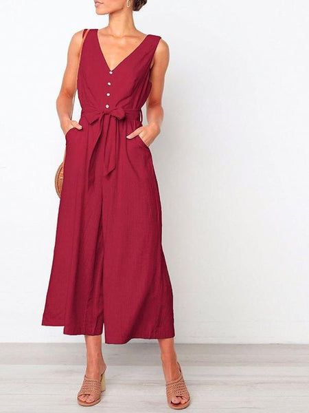 Solid Flare Jumpsuit