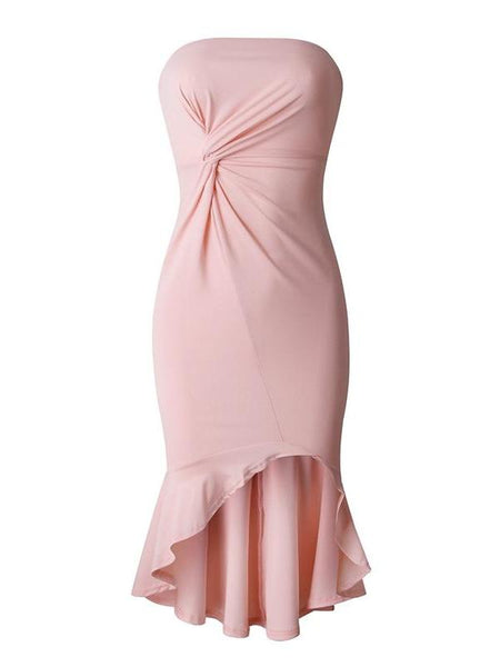 Bandeau Ruffle Asymmetrical Dress