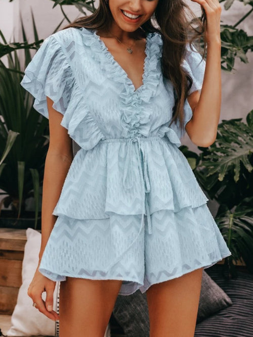 V-neck Ruffle Playsuit