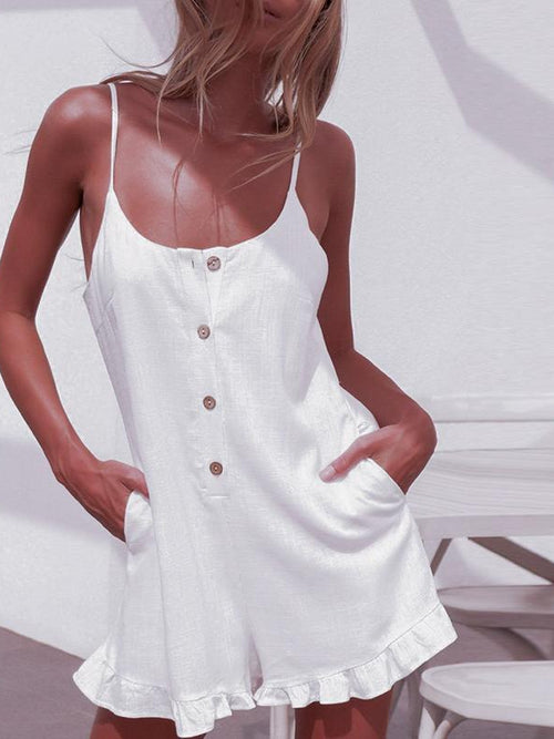 White Button Up Playsuit