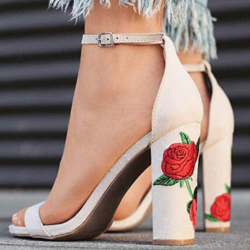 Faux Suede Rose Embroidery High Heels