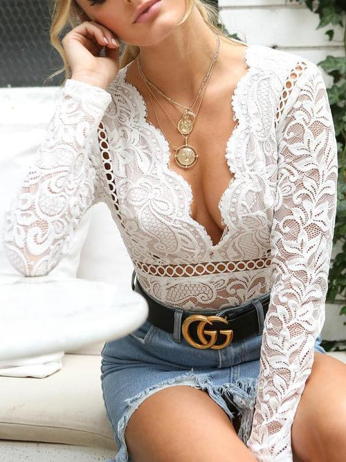 Scallop Trim Lace Bodysuit
