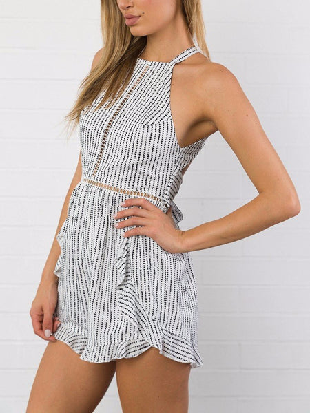 Dotted Backless Halter Playsuit