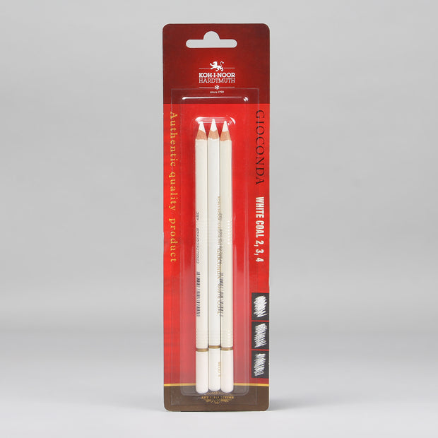 Koh-I-Noor Hardtmuth Gioconda White Coal Pencils Set (2, 3, 4) 8812003002BL