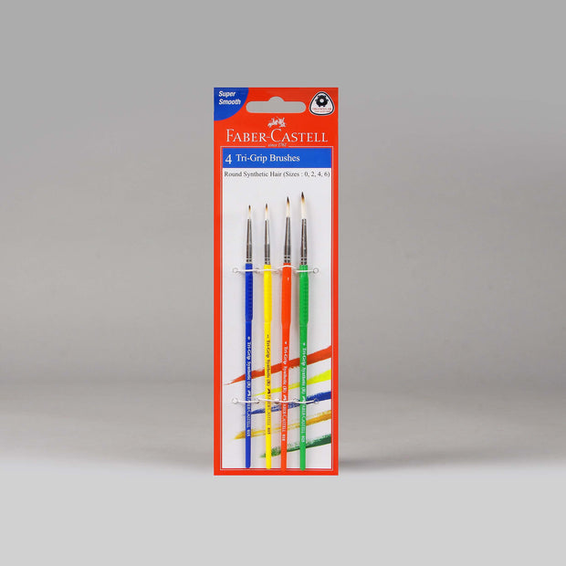 Faber-Castell 4 Tri-Grip Brushes Round 116401 - Anupam