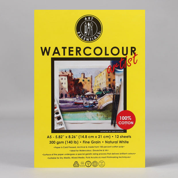 Art Essentials Watercolour Artist Pad A5 (300 GSM, 12 Sheets) 100% Cotton AEWCAP12A5 - Anupam