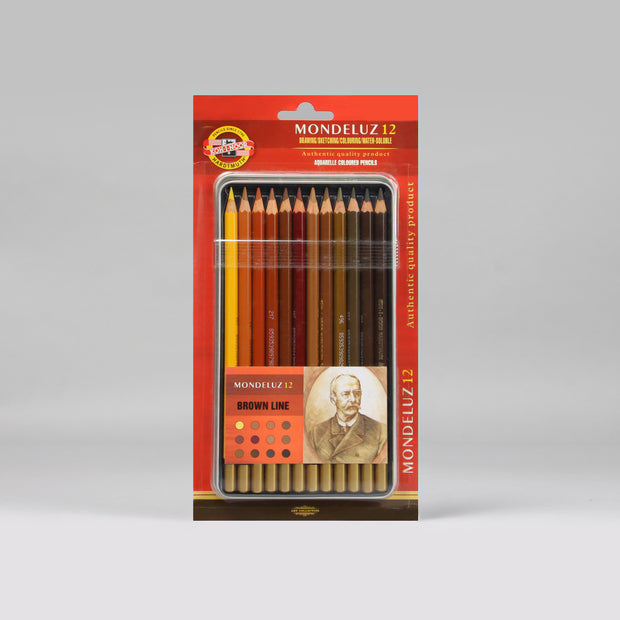 Koh-I-Noor Hardtmuth Mondeluz 12 Artists' Aquarell Coloured Pencils Set 3722