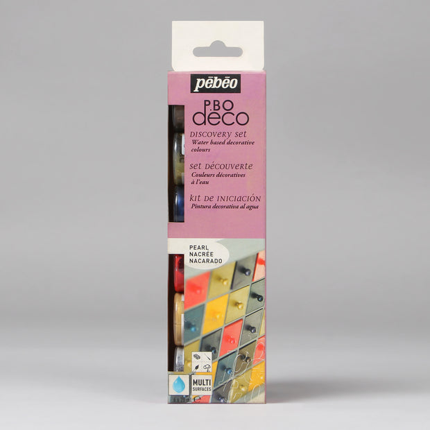 Pebeo PBO Deco Discovery Set Water Based Decorative Colours Pearl 6 Bottles x 20 ml 753413