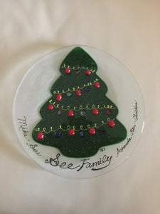 Custom Holiday Christmas Glass Plate