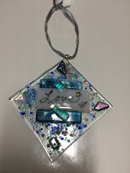 Fused Glass Ornament - LOVE Series