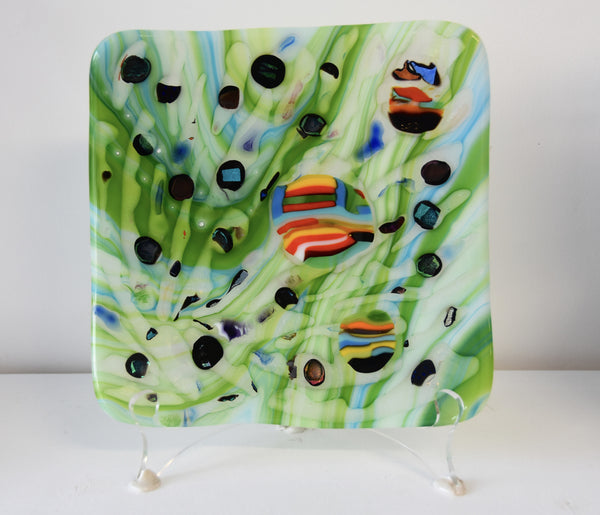 Fused Glass Plate - Forest & Sunrise