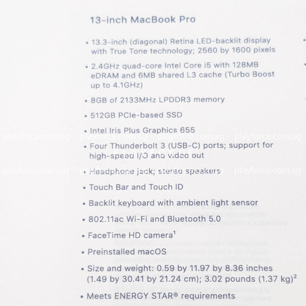 Macbook Pro 2019 (13-inch Touch Bar, 512GB, Silver)(Brand New)