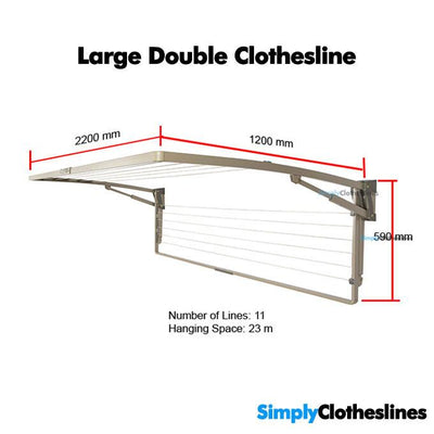 Hills Everyday Double Wall Mounted Clothesline Dimensions 100532 FD45616