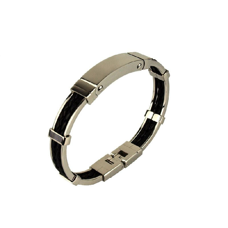 Stainless Steel and Black Leather Bracelet with Locking Clasp - Theodore Designs