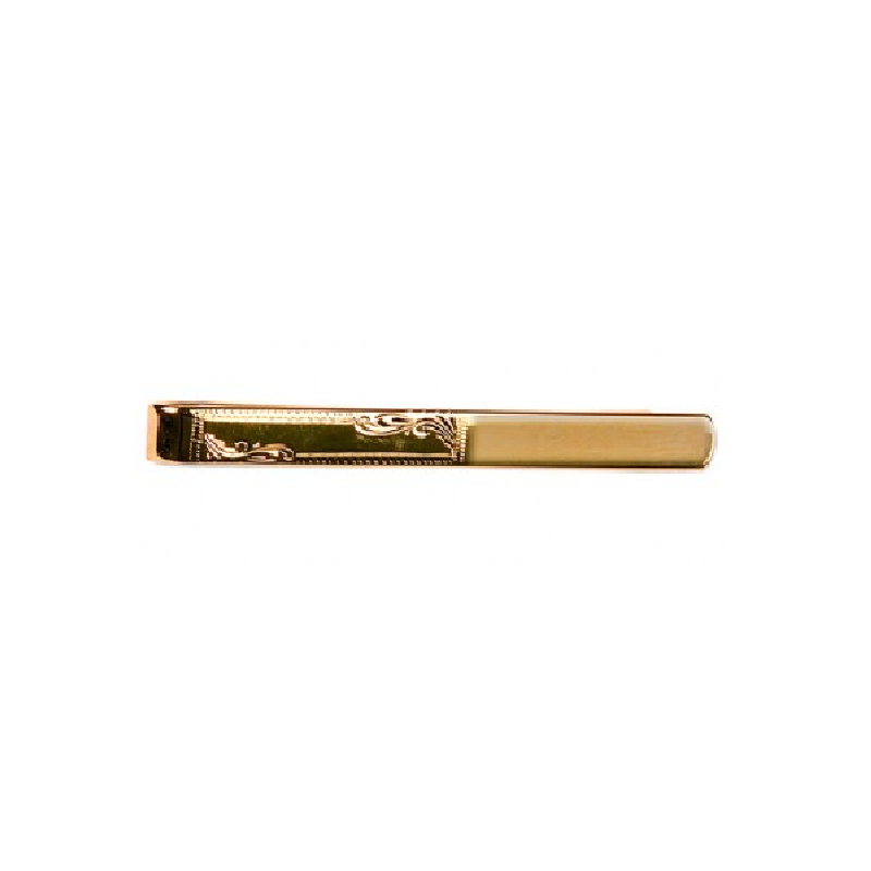Half Engraved Gold Plated Tie Slide - Theodore Designs