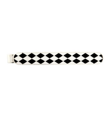Rhodium  and Enamel chequered Tie Bars - Theodore Designs