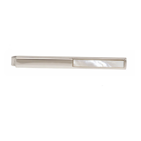 Rhodium  Plated Mother Of Pearl Tie Bars - Theodore Designs