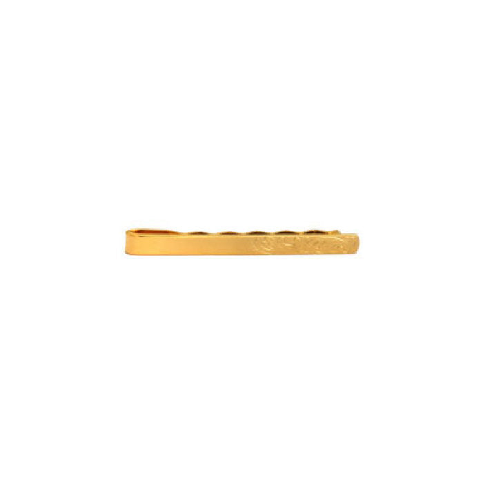 Engraved End Design Gold Plated Tie Slide - Theodore Designs