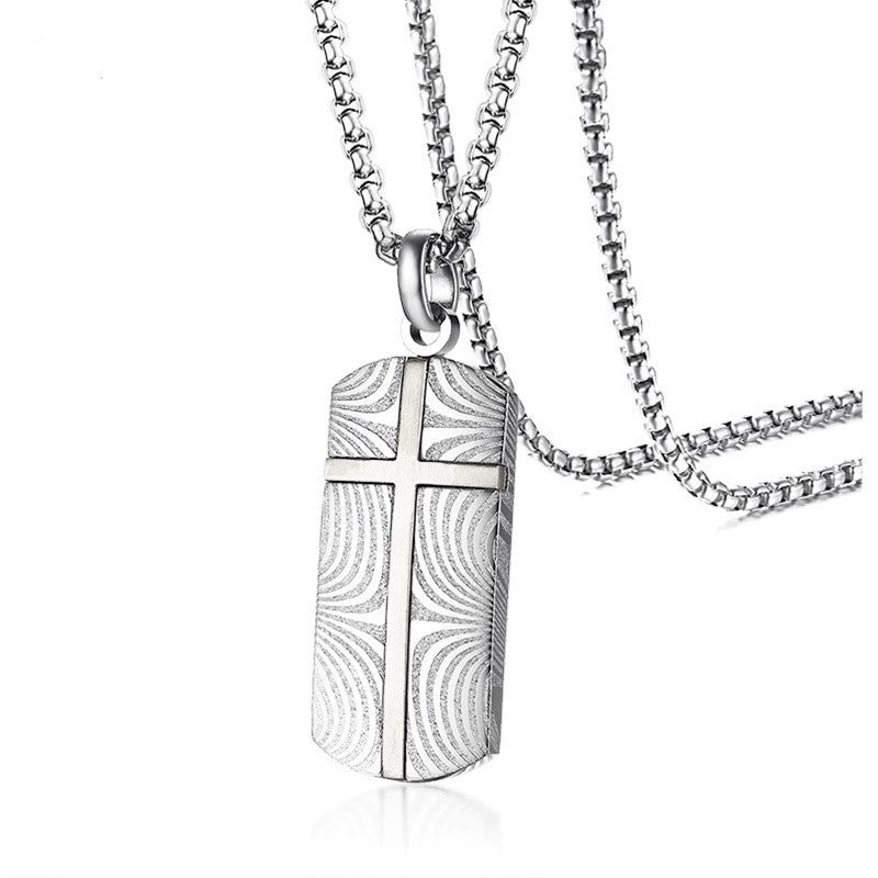 Theodore Damascus Stainless Steel and Cross Dog Tag Pendant - Theodore Designs