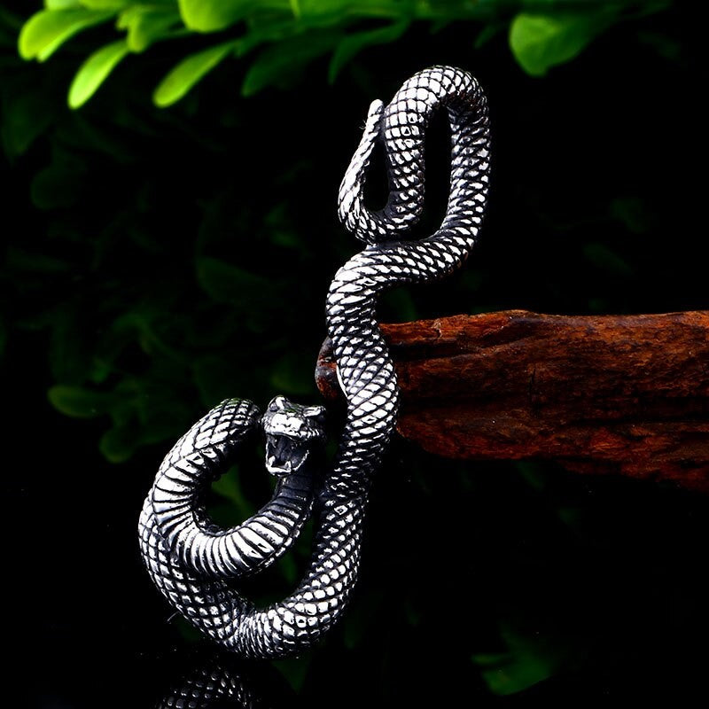 Stainless Steel Men's Norse Viking Snake Pendant and Chain - Theodore Designs
