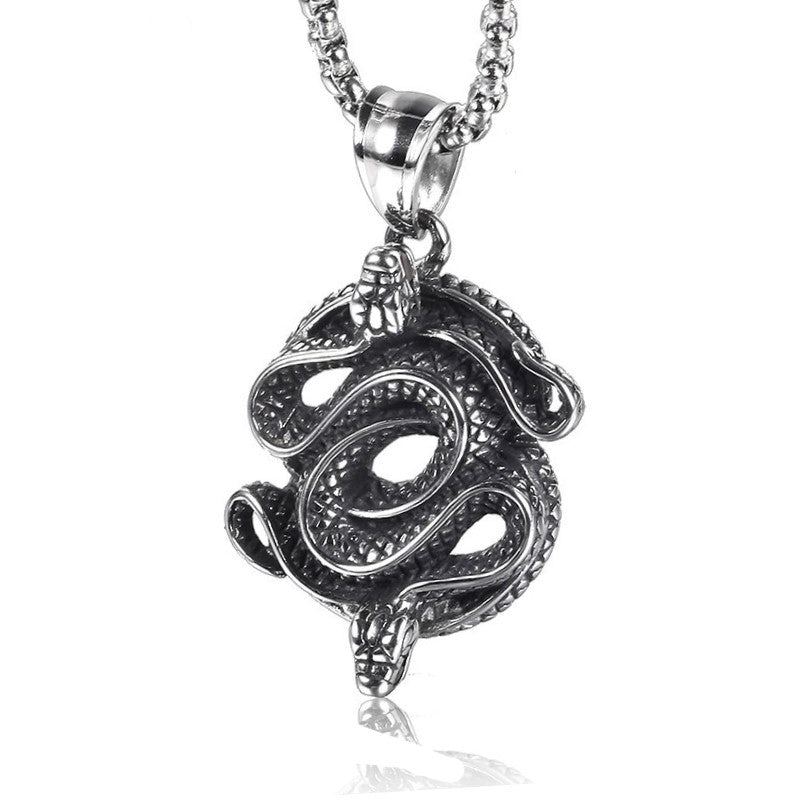 Stainless Steel Men's Snake Pendant Necklace and Chain - Theodore Designs