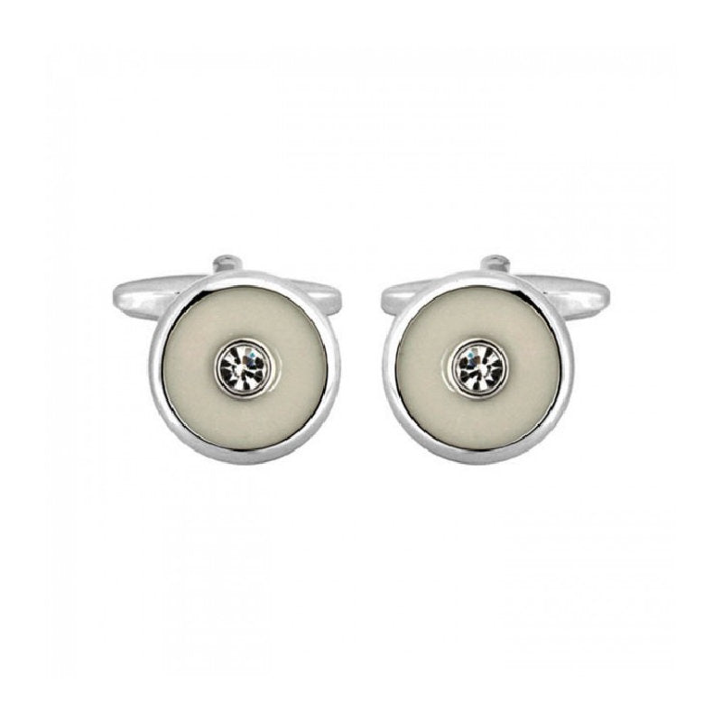 Round Ivory with Centre Crystal Rhodium Plated Cufflinks - Theodore Designs