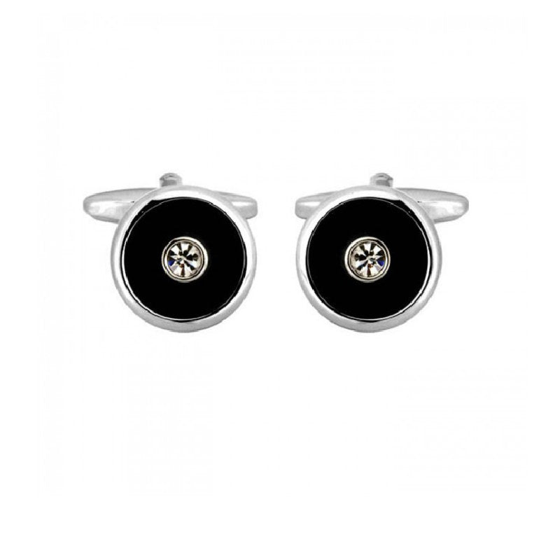 Round Black with Centre Crystal Rhodium Plated Cufflinks - Theodore Designs