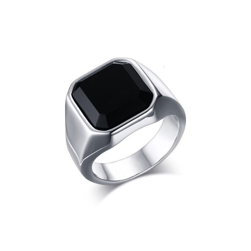 Stainless Steel and Black Stone Signet Ring - Theodore Designs
