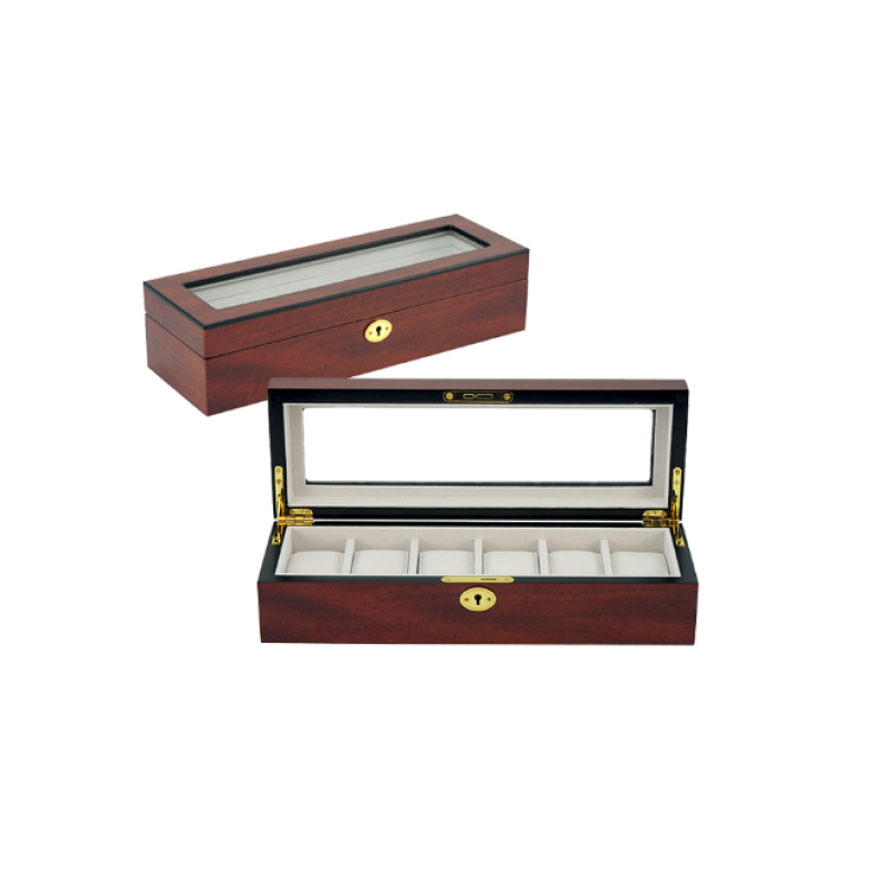 Luxury Cherry Wooden Watch Box for 6 Watches - Theodore Designs