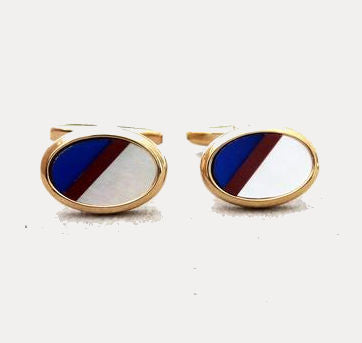 Mother of Pearl,  Lapis Lazuli and Carnelian Gold Cufflinks - Theodore Designs
