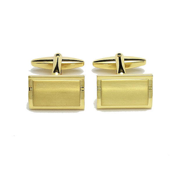 Gold Rectangular Dome Cufflinks - Theodore Designs