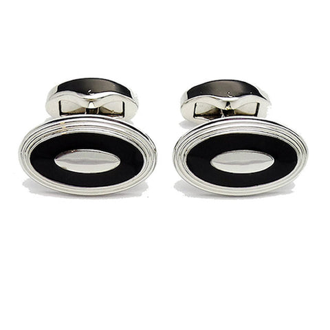 David Aster Black Enamel Cufflinks - Theodore Designs
