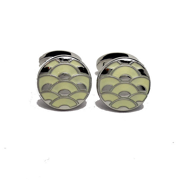 David Aster White Enamel Cloisonne Cufflinks - Theodore Designs