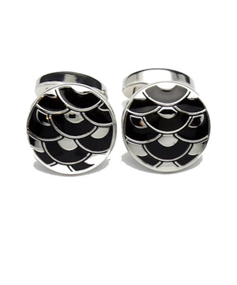 David Aster Black Enamel Cloisonne Cufflinks - Theodore Designs