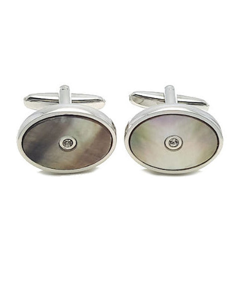 Crystal and Shell Cufflinks - Theodore Designs