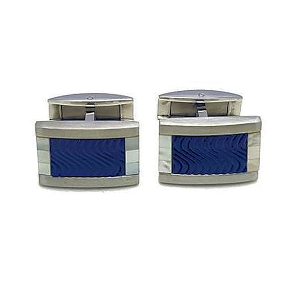 Stainless Steel Blue Enamel Wave Pattern Cufflinks - Theodore Designs