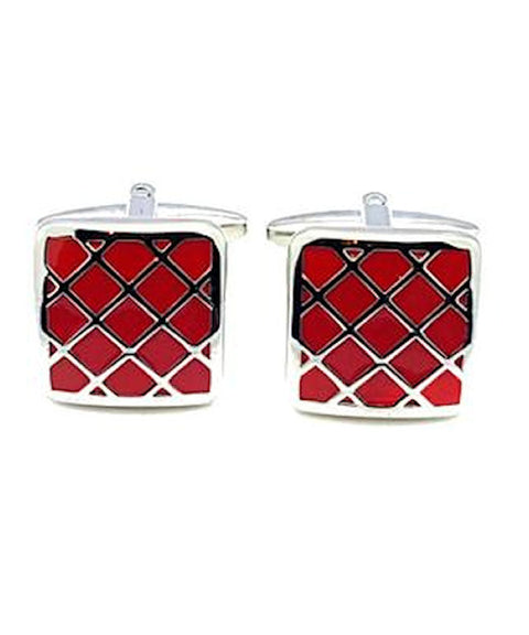 Red Diamond Pattern Enamel Cufflinks - Theodore Designs