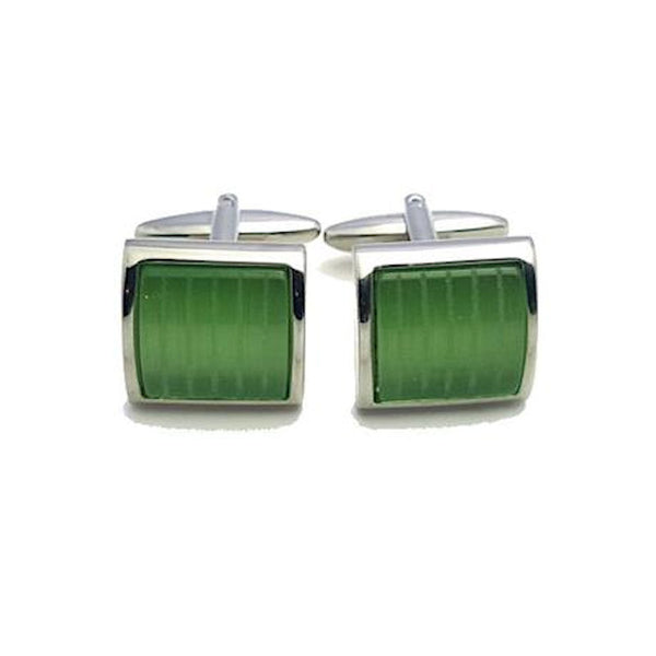 Green Cat's Eye Cufflinks - Theodore Designs
