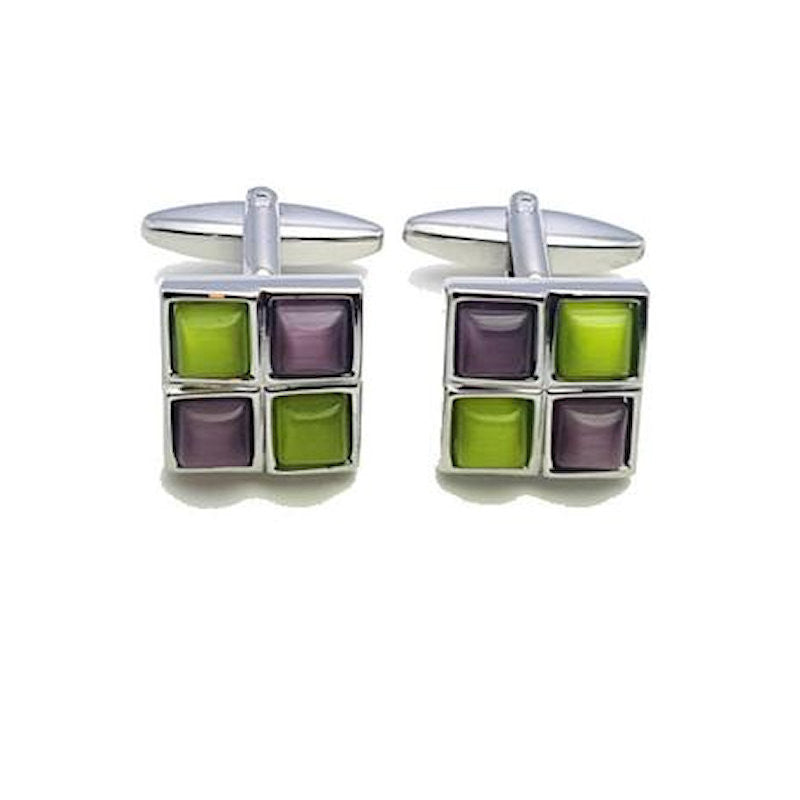 Green/Purple Cat's Eye Cufflinks - Theodore Designs