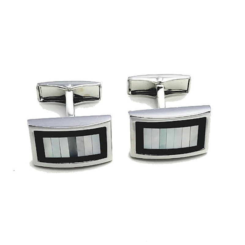 Theodore Mother of Pearl and Onyx Cufflinks - Theodore Designs