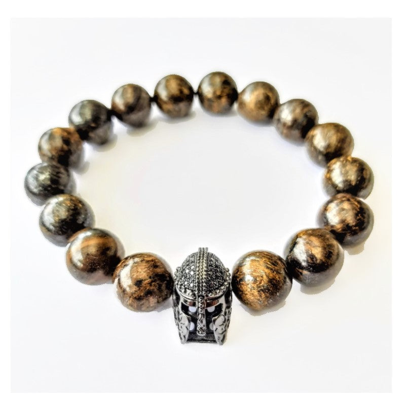 Theodore Helmet and Natural Bronzite Stone Beads Bracelet - Theodore Designs