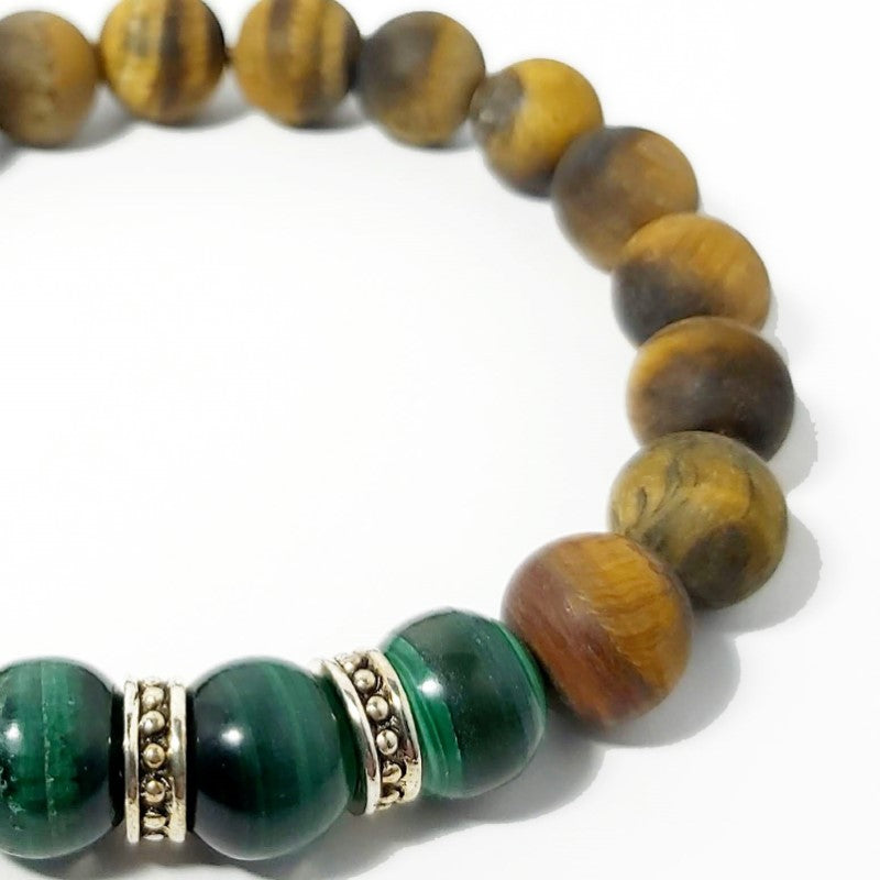 Theodore Tiger Eye and Malachite Silver Bead Bracelet - Theodore Designs