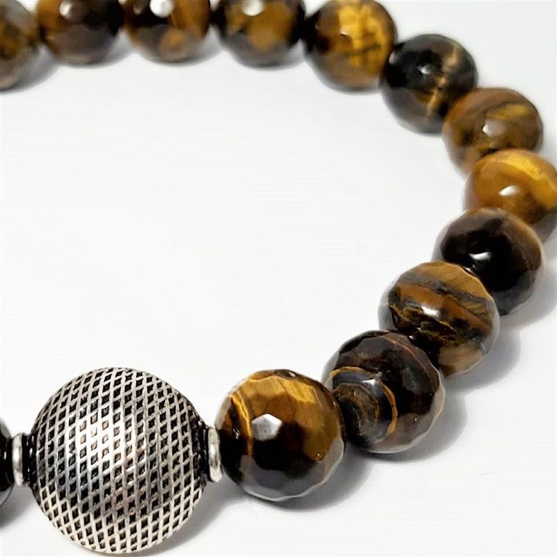 Theodore Faceted Tiger Eye and Silver Bead Bracelet - Theodore Designs