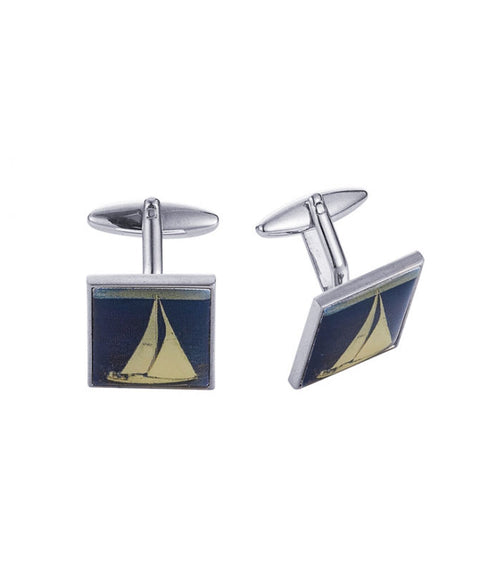 Rhodium Plated Screen print Yacht Cufflinks