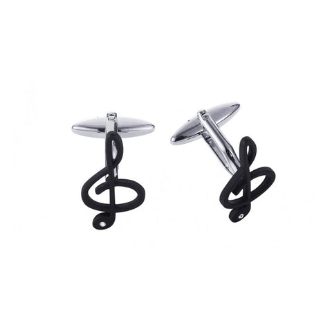 Black plated Musical Clef Cufflinks