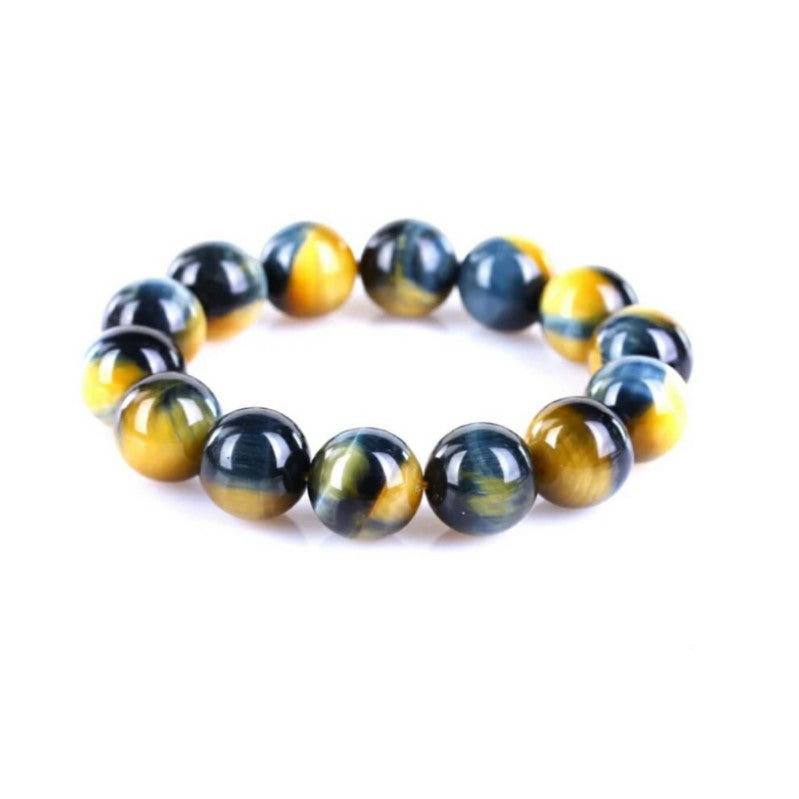Theodore Natural Gold Blue Tiger Eye Bead Bracelet - Theodore Designs