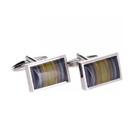 Rhodium Multi Stripe Cats Eye  Cufflinks