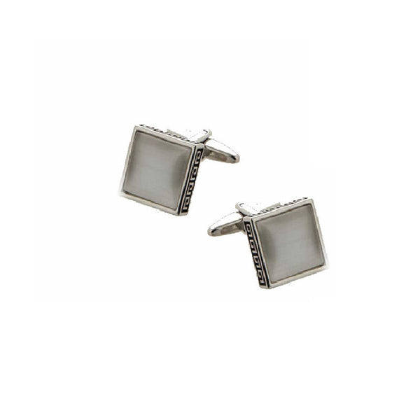 Greek Key White Square Cats Eye Cufflinks