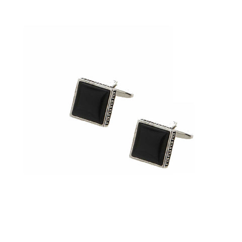 Greek Key Black Square Cats Eye Cufflinks