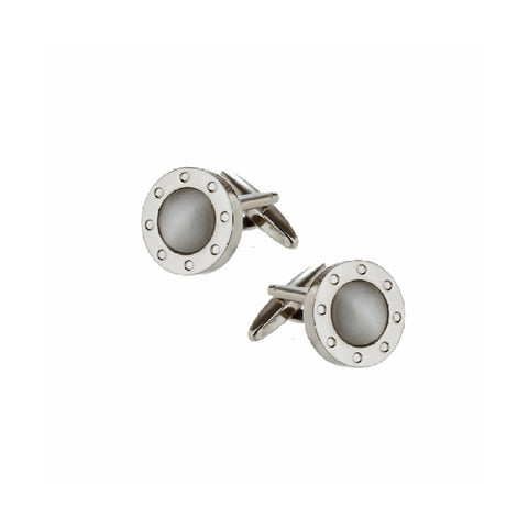 Gray Cat's Eye Round Porthole Cufflinks
